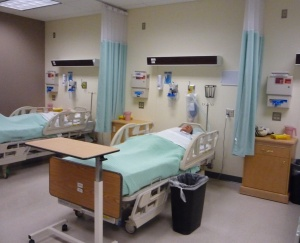 Students learn in rooms like these, with simulators and set up just like a hospital setting.