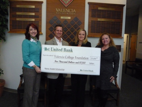 1st United Bank presents a check for $5,000 to Valencia Foundation for student scholarships at Valencia College.  From left to right: Michelle Matis, VP Valencia Foundation; Sam Miles, Sr. VP 1st United Bank; Jennifer Hinkle, Business Development Officer, 1st United Bank; Donna Marino, CFRE Valencia Foundation Manager