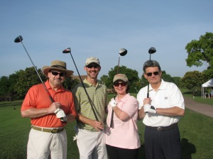 Bill Mullowney, Brian Macon, Geraldine Gallagher and Jim Grumberg at CREW's annual golf tournament