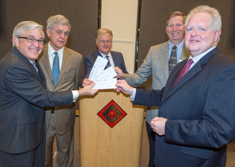 From left: Foundation board members Michael Lingerfelt and Pat Buffa; Valencia College president Sandy Shugart; Florida College Foundation board member Brian Buwalda; and Florida College System chancellor, Randy Hanna.